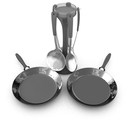 pan and cutlery on a white background