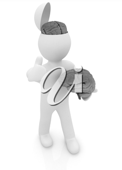 3d people - man with half head, brain and trumb up.