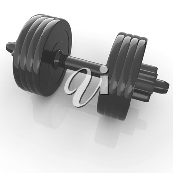 Colorful dumbbells on a white background