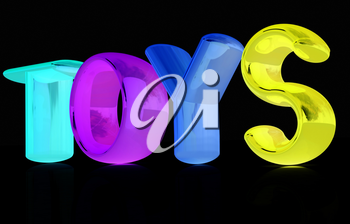 Toys 3d text on a black background