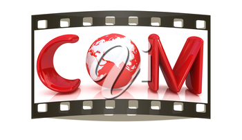 3d text com for earth on a white background. The film strip