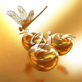 Dragonfly on gold apples