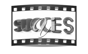 3d red text succes on a white background. The film strip
