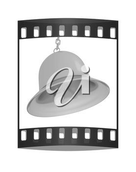 Gold bell on a white background. The film strip