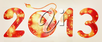 Year 2013 with bomb burning on a white background. 3D illustration. Vintage style.