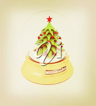 Christmas Snow globe with the falling snow and christmas tree on a white background. 3D illustration. Vintage style.