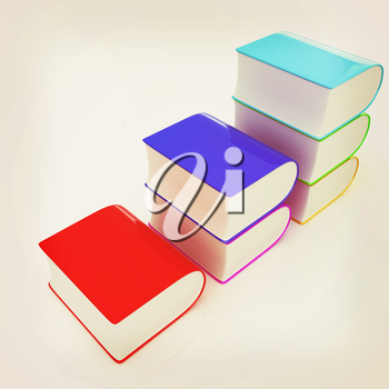 Glossy Books Icon isolated on a white background. 3D illustration. Vintage style.