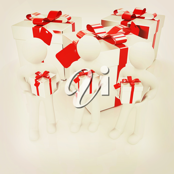 3d mans and gifts with red ribbon on a white background . 3D illustration. Vintage style.