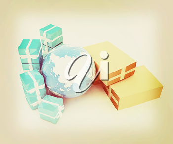 Cardboard boxes, gifts and earth on a white background. 3D illustration. Vintage style.