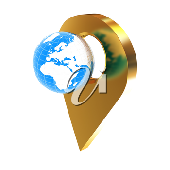 Planet Earth and golden map pins icon on Earth. 3d illustration.