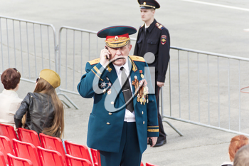 Samara, Russia - May 9, 2017: Russian general on celebration at the parade on annual Victory Day
