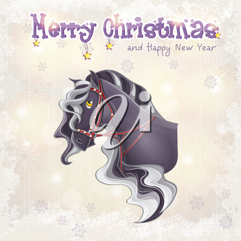 Royalty Free Clipart Image of a Christmas Greeting With a Horse on the Front