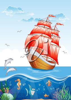 Royalty Free Clipart Image of a Ship and the Animal Underwater