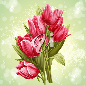 Royalty Free Clipart Image of a Bouquet of Tulips