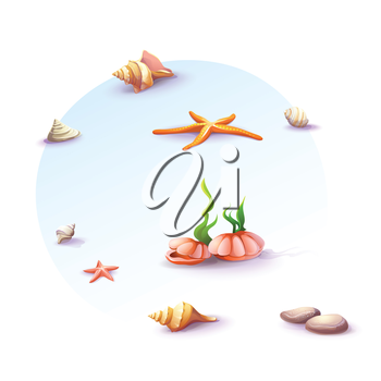 Royalty Free Clipart Image of  Seashells