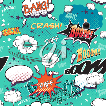 Royalty Free Clipart Image of a Background of Cartoon Words and Bubbles