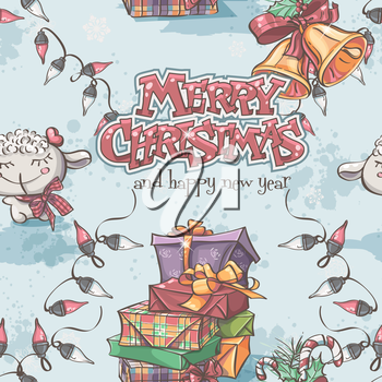 Seamless texture of New Year and Christmas with the lamb, gifts, bells and lanterns.