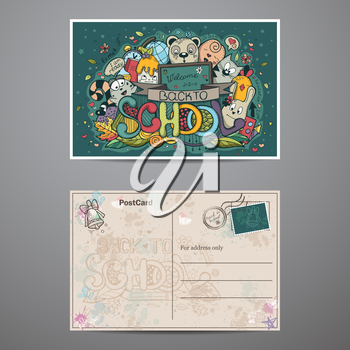 Two-sided card on a school theme with doodles