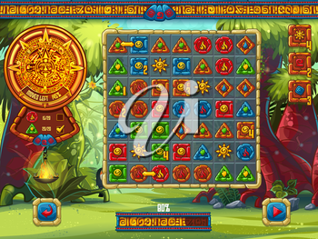 Illustration of the playing field for the computer game Jungle Treasures