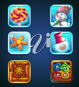 Set of quality icons for web and mobile. Icon candy, snowman icon starfish icon gun icon rune icon icon monstrovy, snowflake icon.
