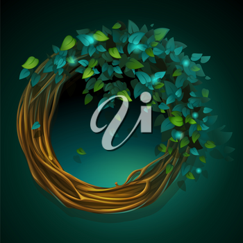 Vector cartoon illustration wreath of vines and leaves on a green background