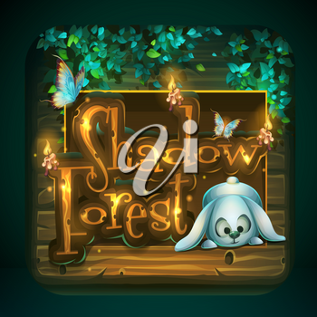 Icon for game user interface. Vector illustration to the computer game Shadowy forest GUI. Background image to create original video or web games, graphic design, screen savers.