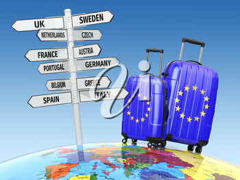 Travel concept. Suitcases and signpost what to visit in Europe. 3d