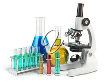 Microscope with flasks and vials. Chemistry labratory tools. 3d illustration