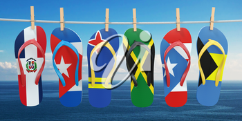 Hanging flip flops in colors of flags of different carribean countries Aruba, Bahamas, Cuba, Dominicana, Jamaica, Puerto-Rico. Travel and tourism concept. 3d illustration