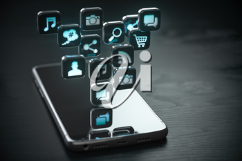 Smartphone with cloud of application icons. Mobile phone on the black wooden background. 3d illustration