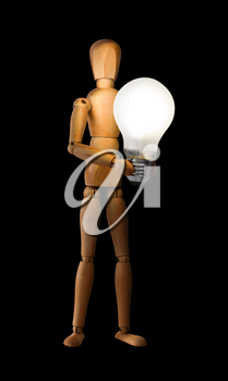Wooden mannequin holding light bulb isolated on black. Idea concept.