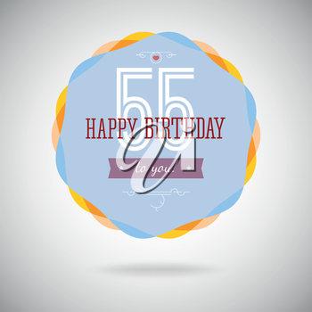 Congratulatory badge for the fifty-five year. 55 years happy birthday. Congratulatory sign for anniversary. Vintage vector typography.