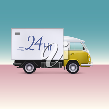 Delivery truck. Vehicle for the delivery of goods. Hour shipping inscription