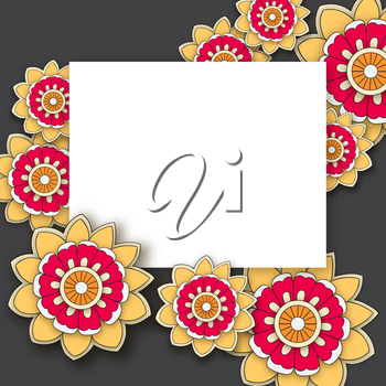 Vector floral background with hand drawn flowers. Template for Greeting Card with place for text