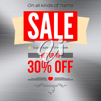 Sale vintage text banner. Ready to print and use in advertising of products and the best deals composition. Selling banner on a metal polished background with thirty percent discount.