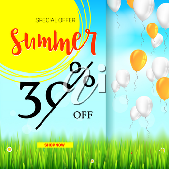 Summer selling ad banner, vintage text design. Holiday discounts, sale background with yellow sun, green field, white clouds and blue sky. Template for shopping, advertising, percentage of discounts.