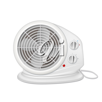 Electric heater with fan, radiator appliance for space heating. Icon of domestic heater with electric cord. 3D illustration isolated on white background.