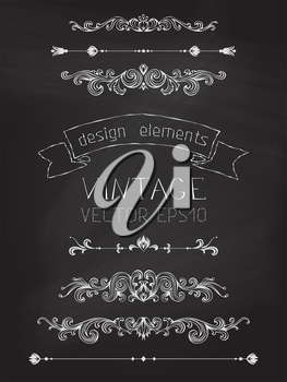 Page decorations, text dividers, ribbon, hand-drawn text. Antique and baroque design elements. Chalkboard background.