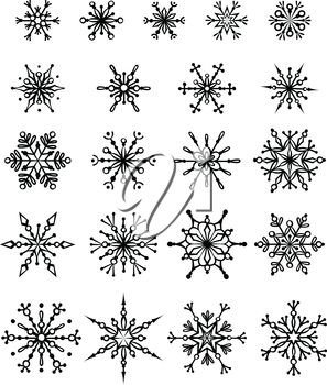 21 black snowflakes isolated on white background. Can be used for your design.