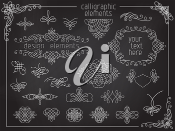 Page decoration, flourishes, dividers, vintage frames, headers and design elements on chalkboard background.