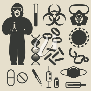 epidemic protection and medical icons set - vector illustration. eps 8