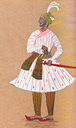 historical clothes - Indian warrior in traditional dress stylized under the Indian miniature 17th century