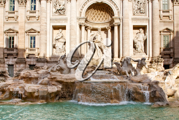 sculptural composition of Trevi Fountain in Rome