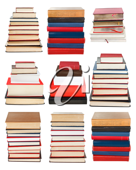 set from piles of different sizes books isolated on white background