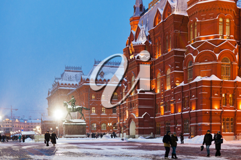 snow in Moscow - State Historical Museum building on Manege Square in winter evening
