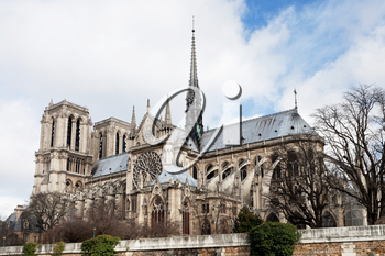 Notre-Dame cathedral in Paris in cloudy day