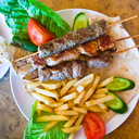 skewers mix arabic kebabs in Jordanian street restaurant