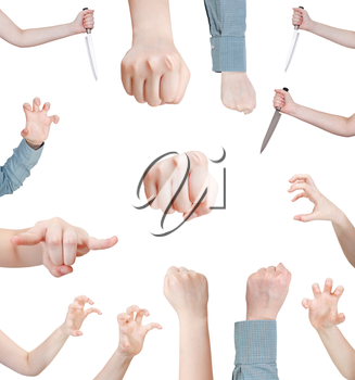 set of attacking female hand gesture isolated on white background