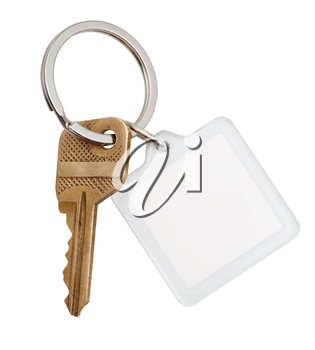 one home brass key and square keychain on ring isolated on white background