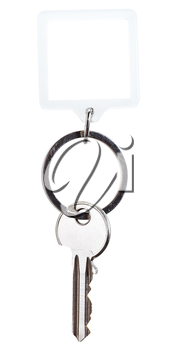 one steel key and square keychain on ring isolated on white background